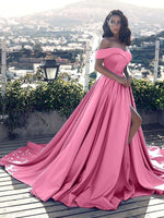 Evening prom dress ,Pink Satin Off-the-Shoulder A-Line/Princess Court Train Dresses,JJ1074