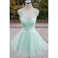 A-line Bridesmaid Dresses, Mint Bridesmaid Dresses, Short Homecoming Dresses With Rhinestone Sleeveless V-Neck ,JJ1085