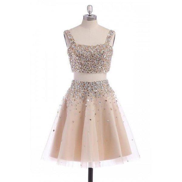 A-line Homecoming Dresses, Champagne Homecoming Dresses, Two Piece Homecoming Dresses With Rhinestone Sleeveless Straps ,JJ1087