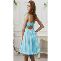 A-line Homecoming Dresses, Light Blue Homecoming Dresses, Short Homecoming Dresses With Pleated Spaghetti Strap Straps,JJ1088