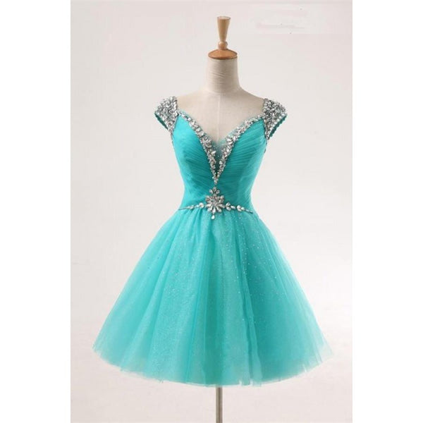 A-line Homecoming Dresses, Light Sky Blue Homecoming Dresses, Short Homecoming Dresses With Rhinestone Cap Sleeve,JJ1089