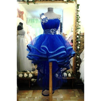 Gown Homecoming Dresses, Royal Blue Homecoming Dresses, Short Homecoming Dresses With Flower Sleeveless One Shoulder,JJ1093