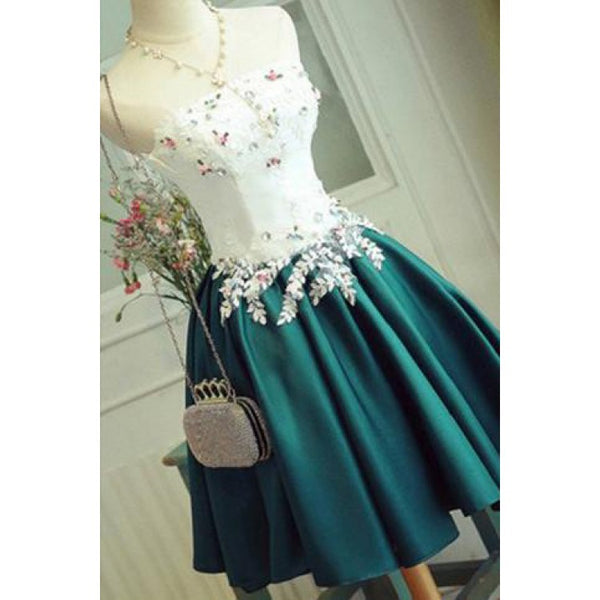 Princess Prom Dresses, Dark Green Prom Dresses, Short Homecoming Dresses With Applique Sleeveless Strapless ,JJ1097