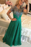 Green Lace Short Sleeves Beading Sweep Train Jewel A-line Prom Dress,B80