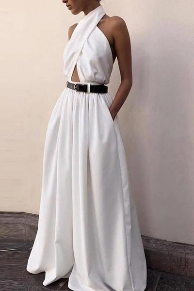 Casual Sexy Sling Off The Shoulder Backless Pure Color Jumpsuit Dress Product Name Casual sexy sling off the shoulder backle,prom dress