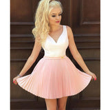 Lovely Pink V Neck Seen Through Back Short Homecoming Dresses, JJ10
