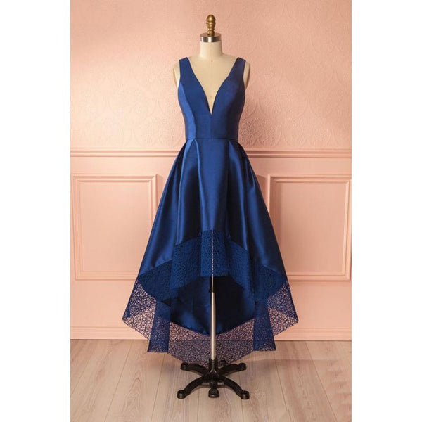 A line Bridesmaid Dresses, Blue Prom Dresses, Long Prom Dresses With Layered Sleeveless Deep V-Neck ,JJ1102