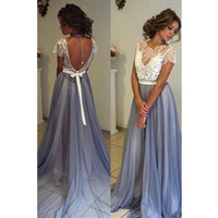 A line Prom Dresses, Blue Prom Dresses, Long Prom Dresses With Lace Short Sleeve Round ,JJ1103