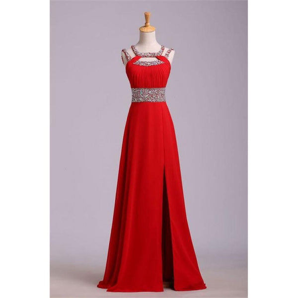 A line Prom Dresses, Red Prom Dresses, Long Prom Dresses With Split-front Sleeveless Round,JJ1105