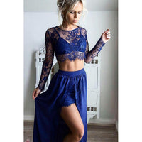 A-line Prom Dresses, Royal Blue Prom Dresses, Two Piece Prom Dresses With Side Split Long Sleeve Round.JJ1107