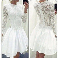 Cheap White Long Sleeves Short Lace Homecoming Dresses, JJ110