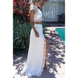 Princess Prom Dresses, White Evening Dresses, Long Evening Dresses With Split-front Sleeveless High Neck ,JJ1119
