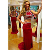 Trumpet Prom Dresses, Red Prom Dresses, Long Prom Dresses With Beaded/Beading Sleeveless Round ,JJ1123
