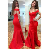 Trumpet Prom Dresses, Red Prom Dresses, Long Prom Dresses With Bodice Sleeveless Off-the-Shoulder ,JJ1124