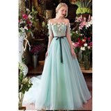 Prom dress ,Princesses Romantic Summer Boho Off the shoulder Long Sleeve Blue Wedding Dresses,JJ1130