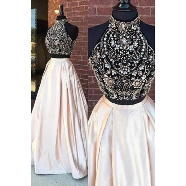 Two Pieces Prom Dresses, High Neck Prom Dresses, Prom Dresses Long, Prom Dresses Cheap,JJ1134