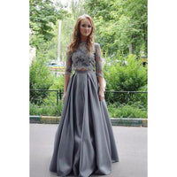 New Arrival Two-Piece A-Line Gray Lace Long Prom/Evening Dress,JJ1135