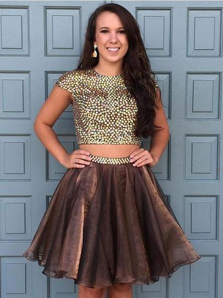 Brown Two Pieces Cap Sleeve Beaded Short Cheap Homecoming Dresses Online,JJ1141