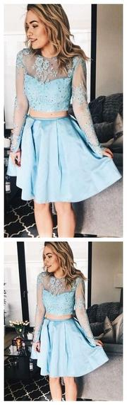 Long Sleeve Blue Homecoming Dresses,Two Piece Short Dress ,Cheap Homecoming Dress,Short Graduation Dress,JJ1156