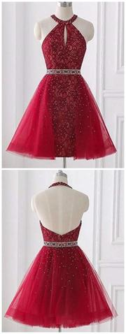 Red Halter Sleeveless Backless Lace A Line Homecoming Dresses,1161