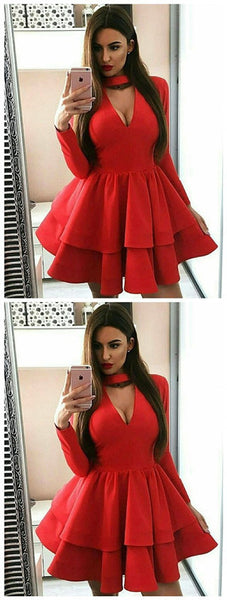 A-Line Long Sleeve Red Homecoming Dress with Ruffles,JJ116