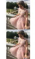 Blush Pink V Neck Sleeveless Appliques Short Homecoming Dresses,Cheap Grad Dress With Flower, A-line Party Dresses,1171