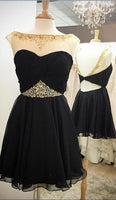 Black Short Chiffon Homecoming Dresses Scoop Neck Women Party Dresses,1172