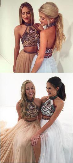 2 Piece Prom Gown,Two Piece Prom Dresses,2 Pieces Party Dresses,Tulle Evening Gowns,Formal Dress,Evening Gown For Teens,1192