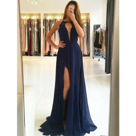 A-Line Deep V-Neck Open-back High Split Chiffon Prom Dresses With Train 1194