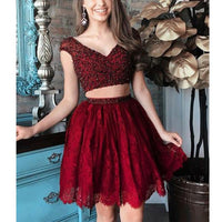 Burgundy Beaded Top Lace Two Pieces Short Homecoming Dresses, JJ11