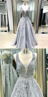 A-Line Scoop Floor-Length Grey Tulle Prom Dress with Appliques,prom dress