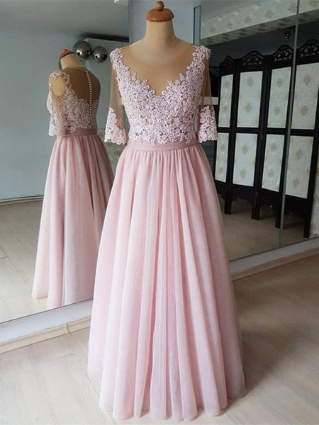 Attractive Chiffon Scoop Neckline Half Sleeves A-line Bridesmaid Dresses With Appliques,prom dress