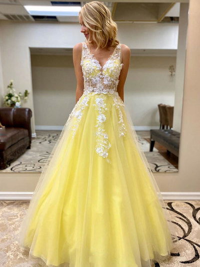 Yellow tulle lace long prom dress yellow formal dress,prom dress