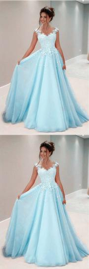 A Line Lace Appliques Long Chiffon Prom Dresses With Nude Tulle,1205.