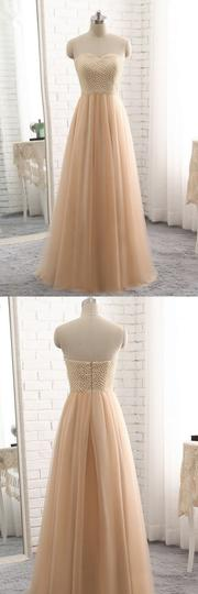 A Line Sweetheart Long Tulle Prom Dresses with Pearl,1207