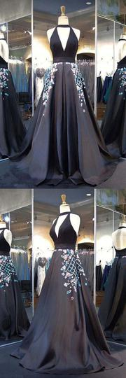 A Line Black Halter Long Satin Prom Dresses with Applique ,1209