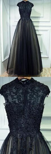 A Line Black Long Tulle Prom Dresses with Applique ,1210