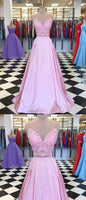 A Line V Neck 2 Pieces Pink Lace Prom Dresses, Pink 2 Pieces Lace Formal Graduation Evening Dresses,1211