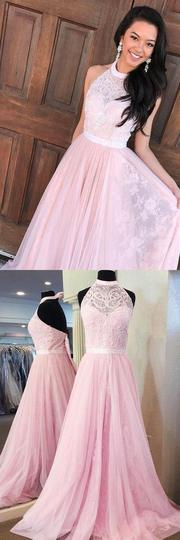 A-Line Halter Floor-Length Pink Tulle Prom Dresses with Sash Lace , 1214