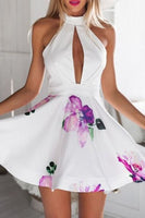 Chic Floral Halter Neck Skater Dress,Homecoming dress,1281