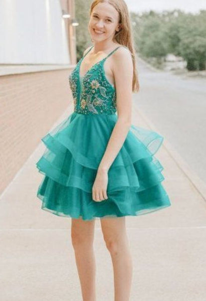 Green Tulle Beaded & Appliques Tiered Homecoming Dress, Sleeveless Green Short  Dress,1288