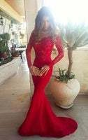 Sexy Mermaid Red Lace Long Sleeves Evening Dress ,prom dress,1296