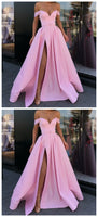 Off the Shoulder Pink Evening Gown with Slit,JJ129