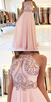 Prom Dresses Simple, A-Line Jewel Backless Pink Beaded Long Chiffon Prom Dress Simplicity Dress