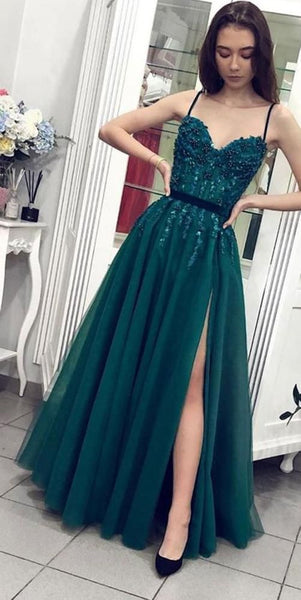 Sweetheart Long Spaghetti Straps Prom Dress Custom Made Long Beaded Evening Dress Fashion Long Side Slit School Dance Dress,prom dress