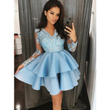 Blue Lace Satin Long Sleeves Cute Short Homecoming Dresses, JJ12
