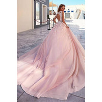 prom dress ,Romantic Tulle & Taffeta ,Scoop Neckline,Sweep Train , 3D Flower Applique,A-Line Wedding Dresses ,Floor Length Party Dress,F14