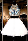 White Tulle Two Piece Beads Open Back Halter Homecoming Dress,13301