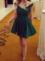 Green Off Shoulder Satin Mini Simple Party Dress, Lovely Homecoming Dress ,1307