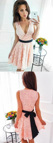 A-Line V-Neck Short Pink Lace Homecoming Dress with Sash,1310